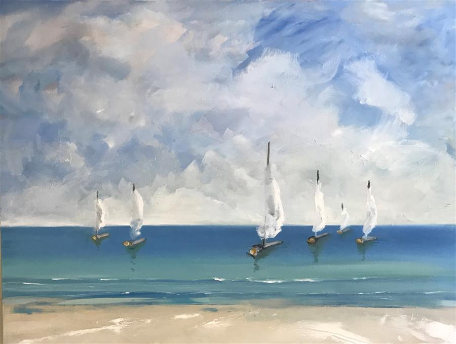 Original art for sale at UGallery.com | Heading Out by PATRICIA FABIAN | $3,725 | Oil painting | 36' h x 48' w | ..\art\oil-painting-Heading-Out