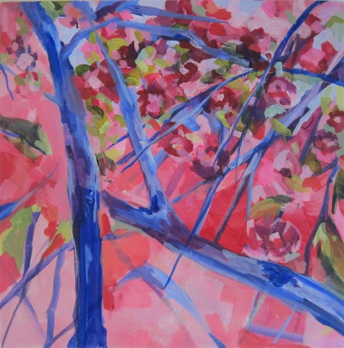 Original art for sale at UGallery.com | Rejoicing Cherry Blossoms by COLETTE WIRZ NAUKE | $700 |  | 20' h x 20' w | ..\art\acrylic-painting-Rejoicing-Cherry-Blossoms