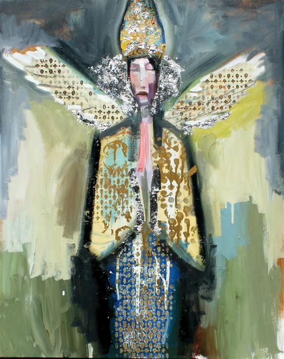 Original art for sale at UGallery.com | An Angel with a Tall Metal Hat by SCOTT DYKEMA | $2,075 |  | 30' h x 24' w | ..\art\mixed-media-artwork-An-Angel-with-a-Tall-Metal-Hat