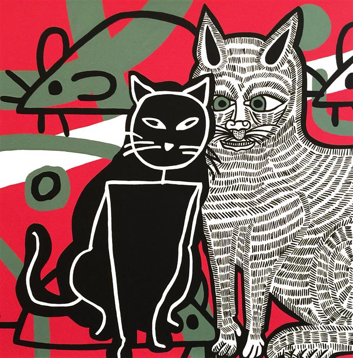 Original art for sale at UGallery.com | My Cat from Kazan by DANIELLE SIEGELBAUM | $2,550 |  | 24' h x 24' w | ..\art\acrylic-painting-My-Cat-from-Kazan