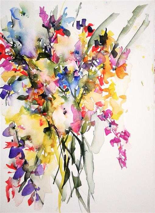 Original art for sale at UGallery.com | Spring Bouquet XIV by Karin Johannesson | $625 | watercolor painting | 14' h x 11' w | ..\art\watercolor-painting-Spring-Bouquet-XIV