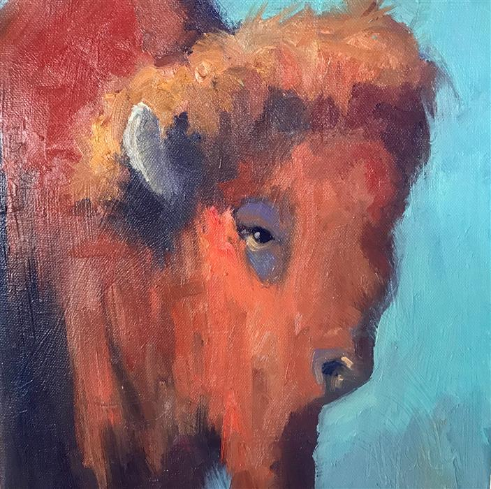Original art for sale at UGallery.com | Buffalo Color by STEPHEN WYSOCKI | $525 |  | 12' h x 12' w | ..\art\oil-painting-Buffalo-Color