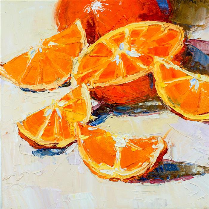 Original art for sale at UGallery.com | Sliced Oranges by ANN  MCMILLAN | $500 |  | 10' h x 10' w | ..\art\oil-painting-Sliced-Oranges