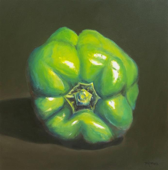Original art for sale at UGallery.com | Larger Than Life, Bell Pepper II by TAMI CARDNELLA | $800 |  | 24' h x 24' w | ..\art\oil-painting-Larger-Than-Life-Bell-Pepper-II