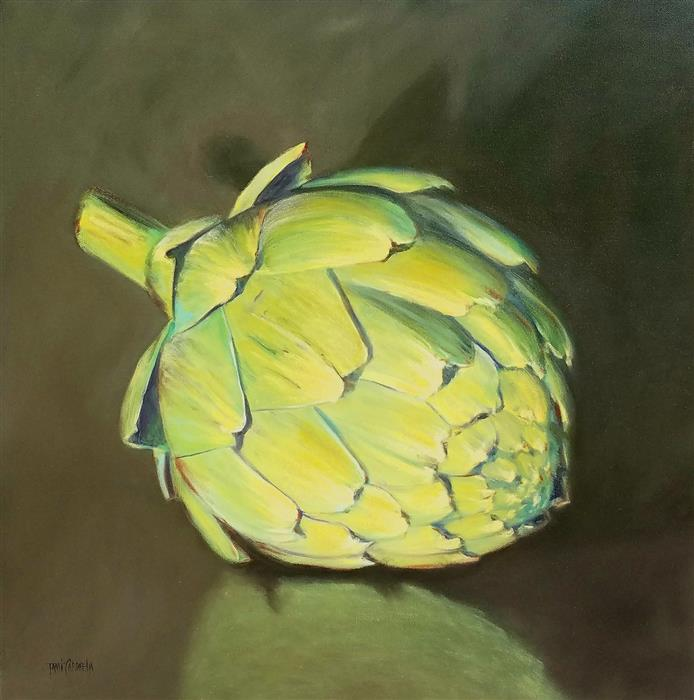 Original art for sale at UGallery.com | Larger Than Life, Artichoke by TAMI CARDNELLA | $850 |  | 24' h x 24' w | ..\art\oil-painting-Larger-Than-Life-Artichoke