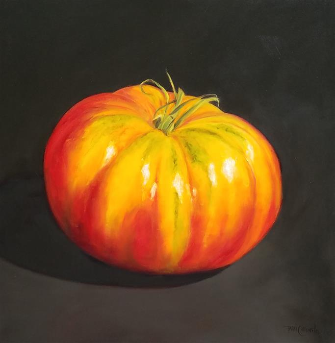 Original art for sale at UGallery.com | Larger Than Life, Heirloom Tomato by TAMI CARDNELLA | $800 | Oil painting | 24' h x 24' w | ..\art\oil-painting-Larger-Than-Life-Heirloom-Tomato