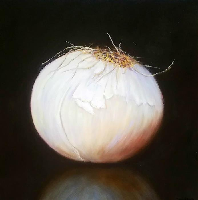 Original art for sale at UGallery.com | Larger Than Life, White Onion by TAMI CARDNELLA | $800 |  | 24' h x 24' w | ..\art\oil-painting-Larger-Than-Life-White-Onion