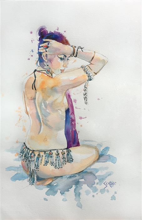 Original art for sale at UGallery.com | Dancer by PATRICK SOPER | $825 |  | 22' h x 15' w | ..\art\watercolor-painting-Dancer-54862