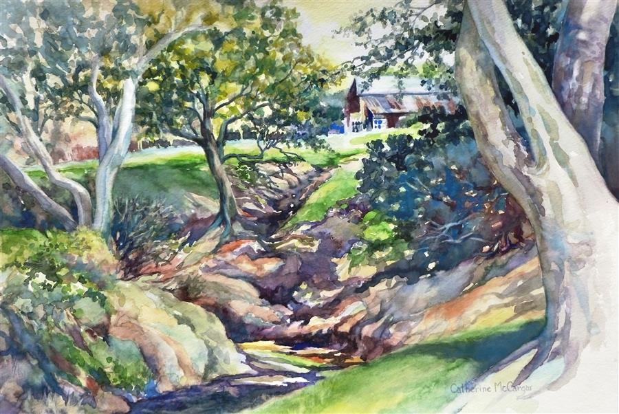 Original art for sale at UGallery.com | Shaded Creek by CATHERINE MCCARGAR | $700 | Watercolor painting | 12' h x 17.5' w | ..\art\watercolor-painting-Shaded-Creek