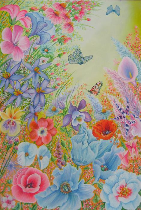 Original art for sale at UGallery.com | Lovely Summer by Natasha Tayles | $1,300 | acrylic painting | 36' h x 24' w | ..\art\acrylic-painting-Lovely-Summer