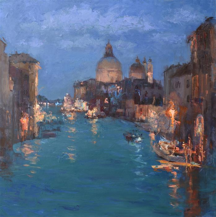 Original art for sale at UGallery.com | View from the Accademia Bridge by OKSANA JOHNSON | $3,500 |  | 36' h x 36' w | ..\art\oil-painting-View-from-the-Accademia-Bridge