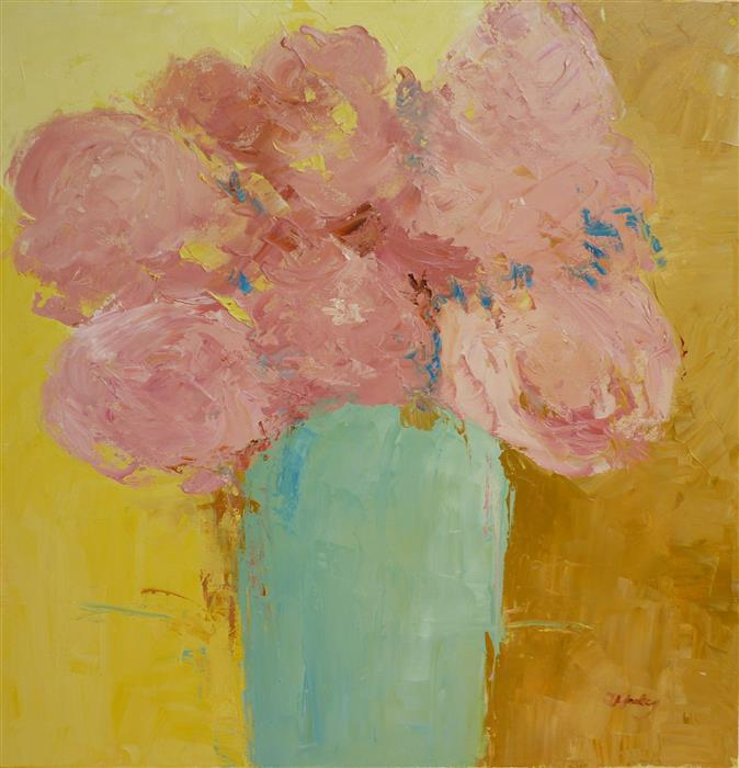 Original art for sale at UGallery.com | May Flowers 2 by JUDY MACKEY | $1,150 |  | 24' h x 24' w | ..\art\oil-painting-May-Flowers-2