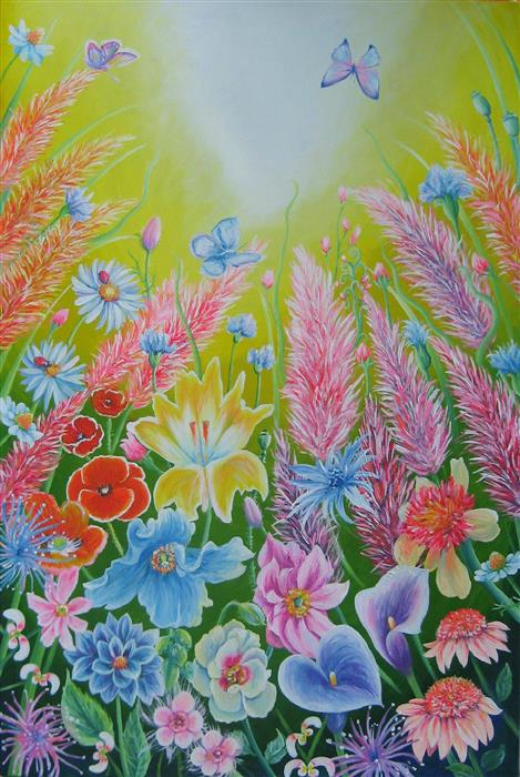 Original art for sale at UGallery.com | Feathered Flowers by NATASHA TAYLES | $1,175 |  | 24' h x 36' w | ..\art\acrylic-painting-Feathered-Flowers