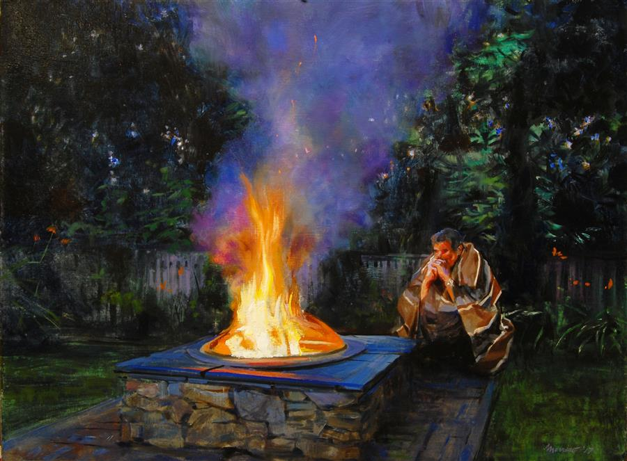 Original art for sale at UGallery.com | Fireside Vigil by ONELIO MARRERO | $1,025 |  | 18' h x 24' w | ..\art\oil-painting-Fireside-Vigil