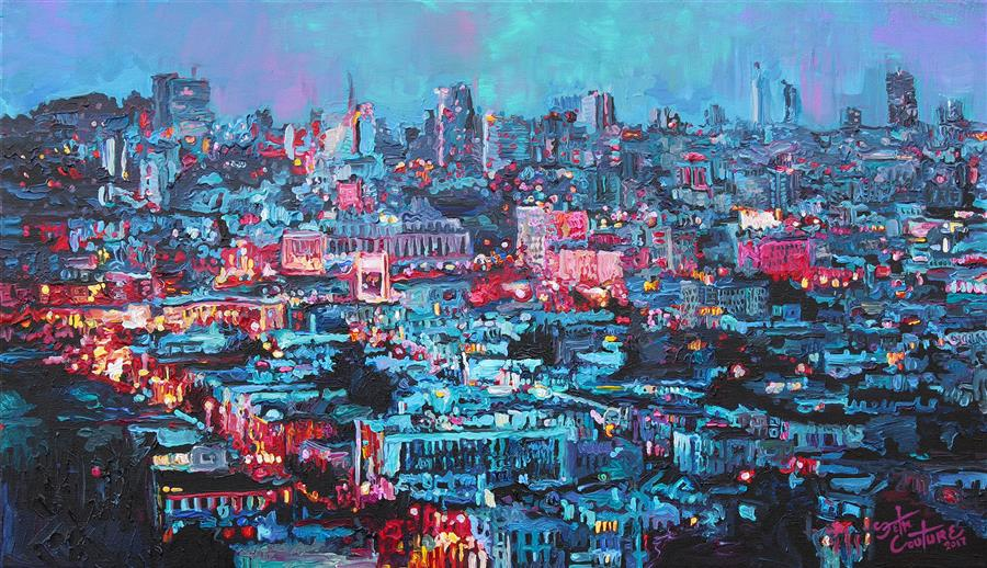 Original art for sale at UGallery.com | The US Mint from Church and Market, San Francisco by SETH COUTURE | $1,000 |  | 16' h x 28' w | ..\art\acrylic-painting-The-US-Mint-from-Church-and-Market-San-Francisco