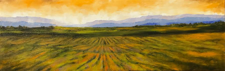 Original art for sale at UGallery.com | Vineyard XV by MANDY MAIN | $2,525 | Oil painting | 20' h x 60' w | ..\art\oil-painting-Vineyard-XV