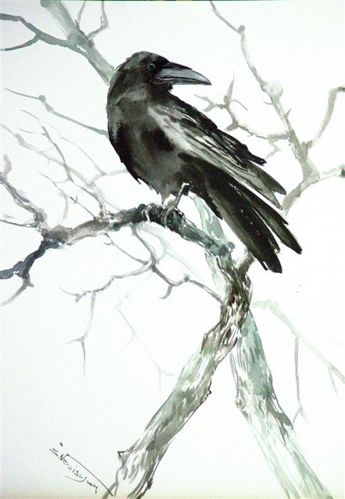Original art for sale at UGallery.com | Raven on the Tree (Vertical) by SUREN NERSISYAN | $400 |  | 20' h x 14' w | ..\art\watercolor-painting-Raven-on-the-Tree-Vertical