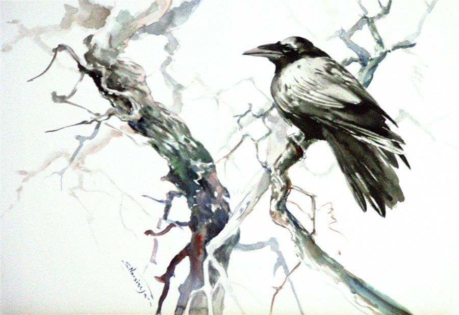 Original art for sale at UGallery.com | Raven in the Woods by SUREN NERSISYAN | $450 |  | 14' h x 20' w | ..\art\watercolor-painting-Raven-in-the-Woods