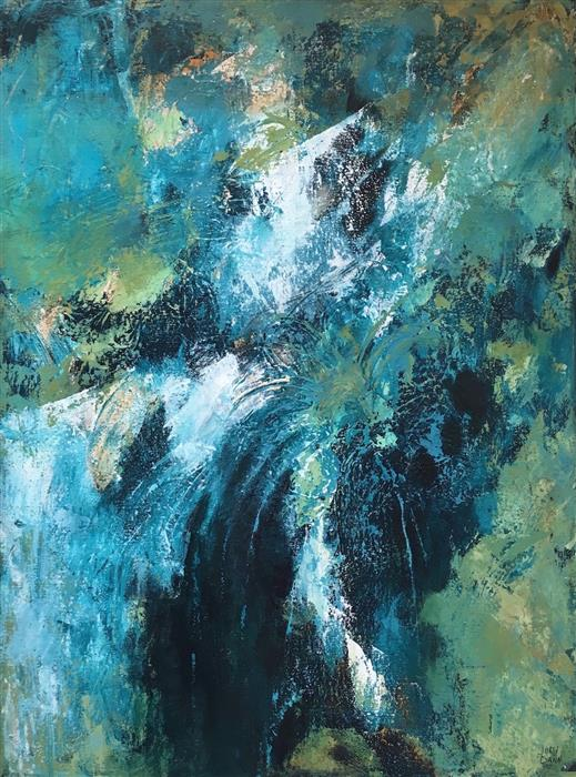 Original art for sale at UGallery.com | Secret Falls by JODI  DANN | $675 |  | 24' h x 18' w | ..\art\acrylic-painting-Secret-Falls