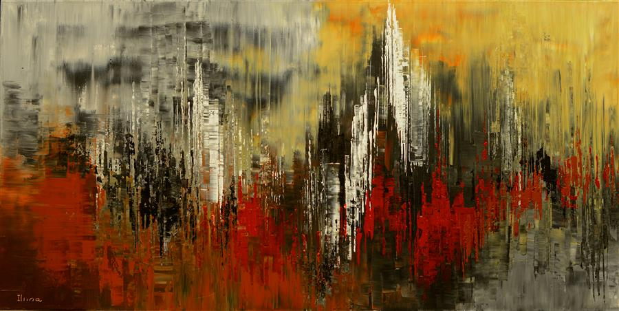 Original art for sale at UGallery.com | Village Echoes by TATIANA ILIINA | $2,575 |  | 24' h x 48' w | ..\art\acrylic-painting-Village-Echoes