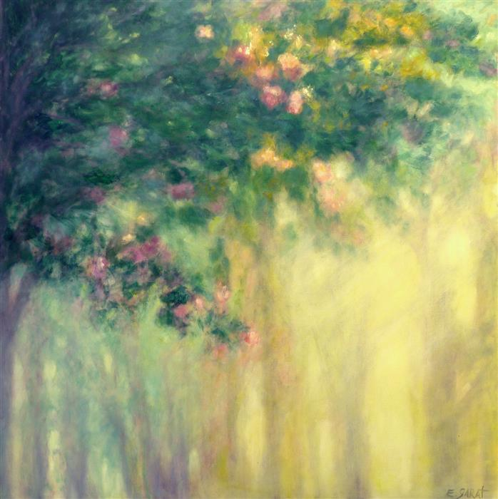 Original art for sale at UGallery.com | Dawn Light, Flowering Trees by ELIZABETH GARAT | $3,825 |  | 48' h x 48' w | ..\art\oil-painting-Dawn-Light-Flowering-Trees