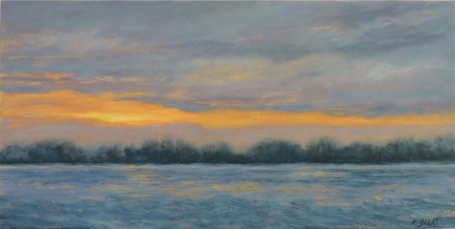 Original art for sale at UGallery.com | A Sunset at the River by ELIZABETH GARAT | $1,475 |  | 18' h x 36' w | ..\art\oil-painting-A-Sunset-at-the-River