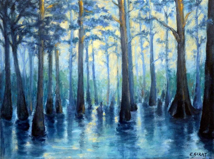 Original art for sale at UGallery.com | Ghost River Sentinels by ELIZABETH GARAT | $1,275 |  | 20' h x 26' w | ..\art\oil-painting-Ghost-River-Sentinels