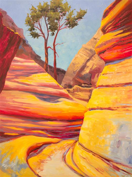Original art for sale at UGallery.com | Slot Canyon Trail by KAREN E LEWIS | $2,300 |  | 40' h x 30' w | ..\art\oil-painting-Slot-Canyon-Trail
