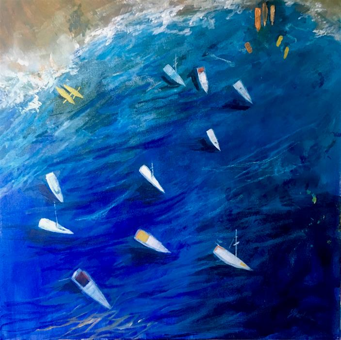 Original art for sale at UGallery.com | Sea and Boats I by JULIA  HACKER | $1,000 |  | 24' h x 24' w | ..\art\acrylic-painting-Sea-and-Boats-I