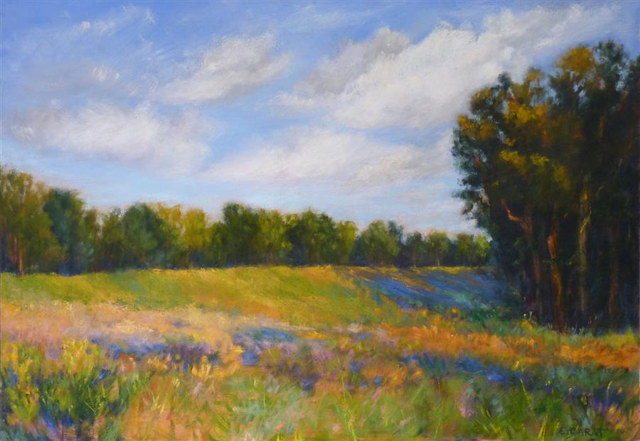 Original art for sale at UGallery.com | Summer Pasture by Elizabeth Garat | $2,150 | oil painting | 28' h x 40' w | ..\art\oil-painting-Summer-Pasture