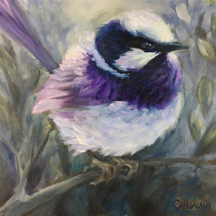 Original art for sale at UGallery.com | Fairy Wren Superb by PANDALANA WILLIAMS | $550 |  | 12' h x 12' w | ..\art\oil-painting-Fairy-Wren-Superb