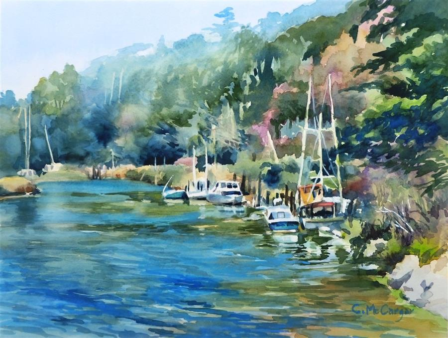 Original art for sale at UGallery.com | Afternoon on the Noyo by CATHERINE MCCARGAR | $650 |  | 12' h x 16' w | ..\art\watercolor-painting-Afternoon-on-the-Noyo