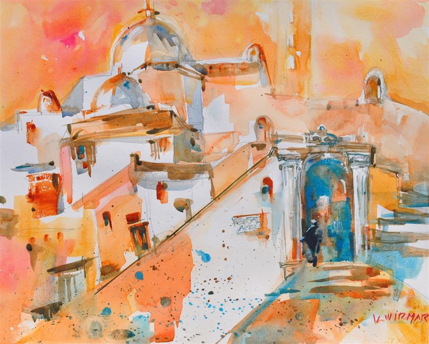 Original art for sale at UGallery.com | Portal to Pueblo Antiguo by LANIE WIDMAR | $850 |  | 16' h x 20' w | ..\art\watercolor-painting-Portal-to-Pueblo-Antiguo