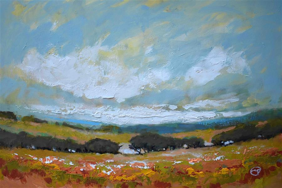 Original art for sale at UGallery.com | White Clouds Over Valley by KIP DECKER | $1,175 | Acrylic painting | 20' h x 30' w | ..\art\acrylic-painting-White-Clouds-Over-Valley