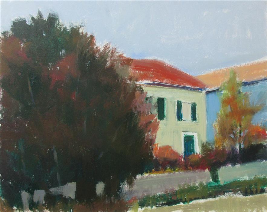 Original art for sale at UGallery.com | House Near Mornay, France by JANET DYER | $1,625 |  | 24' h x 30' w | ..\art\acrylic-painting-House-Near-Mornay-France