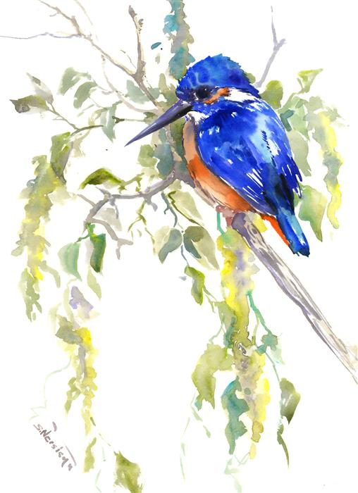 Original art for sale at UGallery.com | Spring Beauty, Kingfisher on the Tree by SUREN NERSISYAN | $325 |  | 16' h x 12' w | ..\art\watercolor-painting-Spring-Beauty-Kingfisher-on-the-Tree