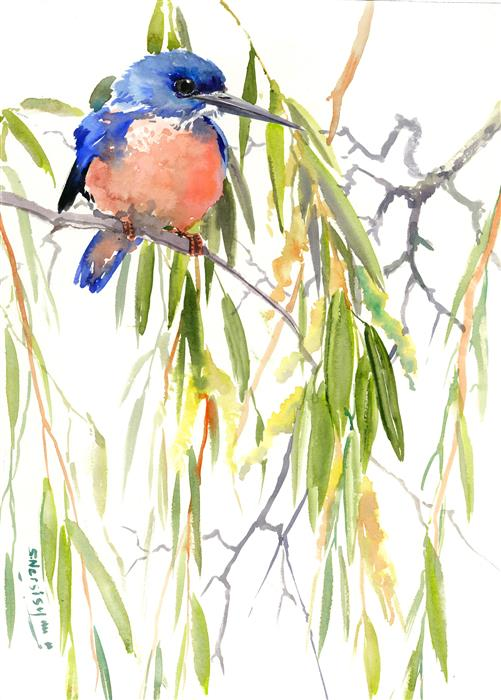 Original art for sale at UGallery.com | Spring, Kingfisher and Weeping Willow by SUREN NERSISYAN | $400 |  | 16' h x 12' w | ..\art\watercolor-painting-Spring-Kingfisher-and-Weeping-Willow