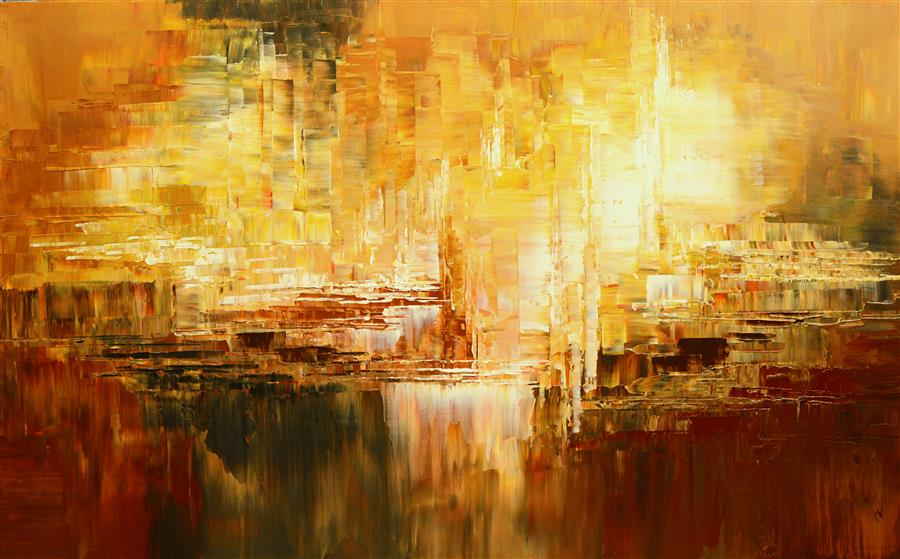 Original art for sale at UGallery.com | Gold of Antiquity by TATIANA ILIINA | $2,825 |  | 30' h x 48' w | ..\art\acrylic-painting-Gold-of-Antiquity