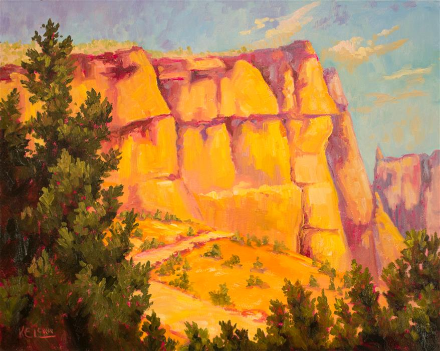 Original art for sale at UGallery.com | Tent Rocks by Karen E Lewis | $1,875 | oil painting | 24' h x 30' w | ..\art\oil-painting-Tent-Rocks