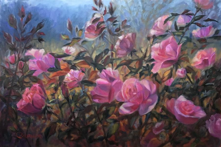 Original art for sale at UGallery.com | Refuge Among the Roses by PANDALANA WILLIAMS | $1,700 |  | 24' h x 36' w | ..\art\oil-painting-Refuge-among-the-Roses