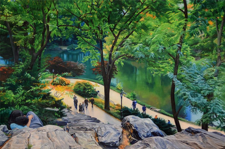 Original art for sale at UGallery.com | Lovers in Central Park by Nick Savides | $8,975 | oil painting | 36' h x 54' w | ..\art\oil-painting-Lovers-in-Central-Park