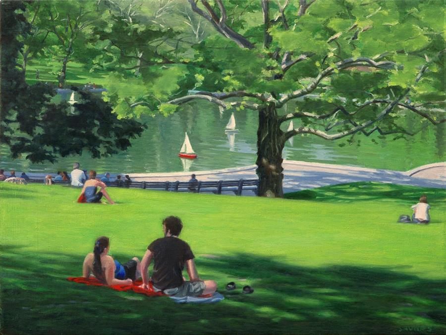 Original art for sale at UGallery.com | Central Park – Sunny Afternoon by NICK SAVIDES | $2,600 |  | 18' h x 24' w | ..\art\oil-painting-Central-Park-Sunny-Afternoon