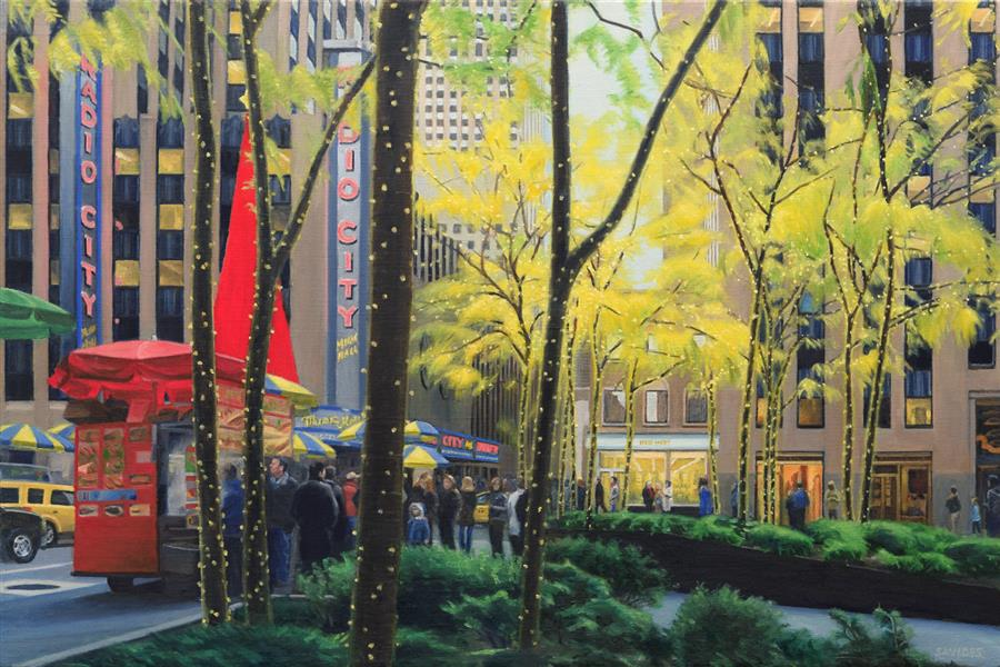 Original art for sale at UGallery.com | Radio City by NICK SAVIDES | $3,700 |  | 24' h x 36' w | ..\art\oil-painting-Radio-City