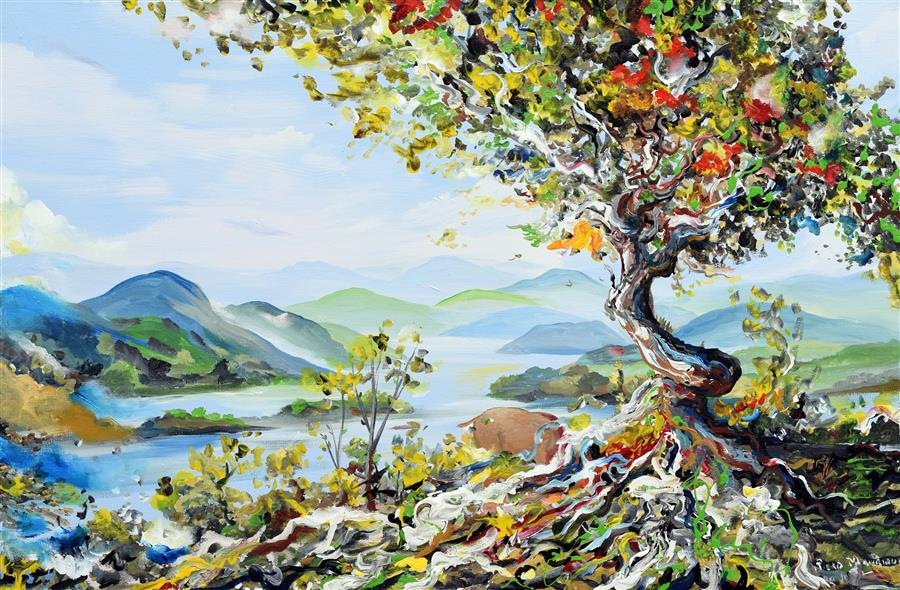 Original art for sale at UGallery.com | Tree with Mountains by PIERO MANRIQUE | $1,200 |  | 24' h x 36' w | ..\art\acrylic-painting-Tree-with-Mountains
