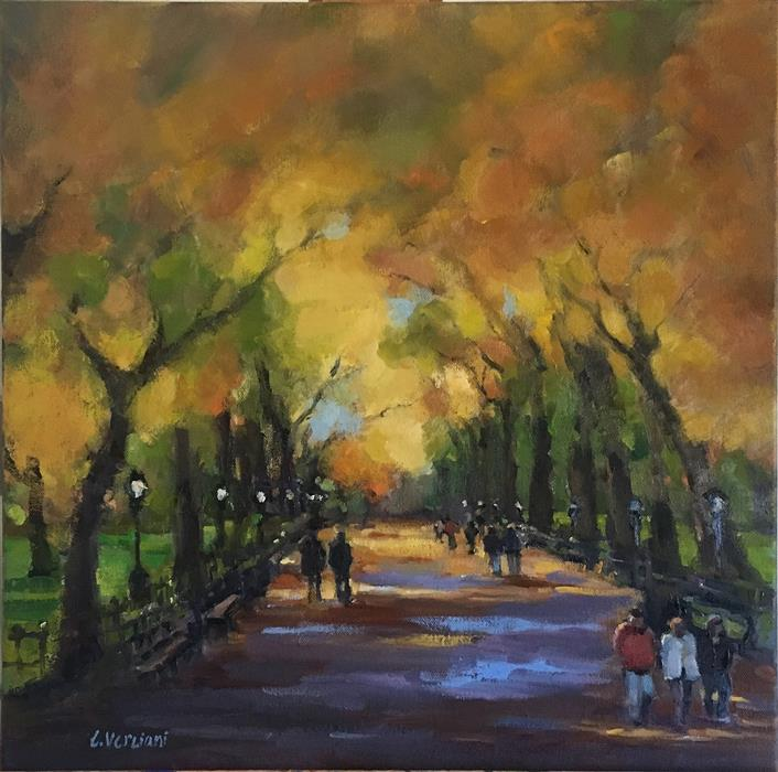 Original art for sale at UGallery.com | Poet's Walk at Central Park by CLAUDIA VERCIANI | $1,125 |  | 20' h x 20' w | ..\art\oil-painting-Poet-s-Walk-at-Central-Park
