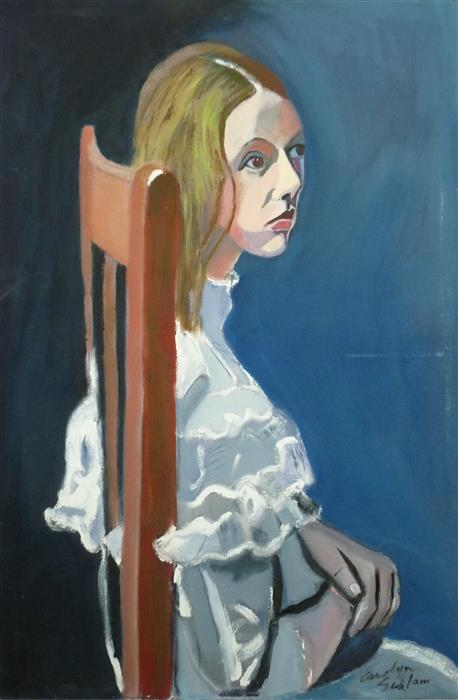 Original art for sale at UGallery.com | Girl in the Wooden Chair by CAROLYN SCHLAM | $5,200 |  | 36' h x 24' w | ..\art\oil-painting-Girl-in-the-Wooden-Chair