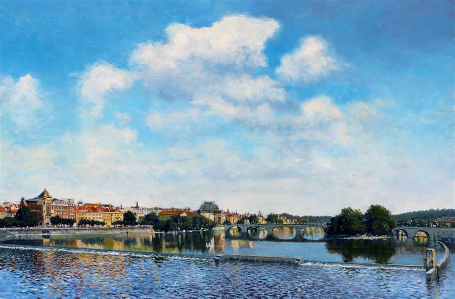 Original art for sale at UGallery.com | Legion Bridge, Prague by Kent Sullivan | $2,700 | oil painting | 24' h x 36' w | ..\art\oil-painting-Legion-Bridge-Prague