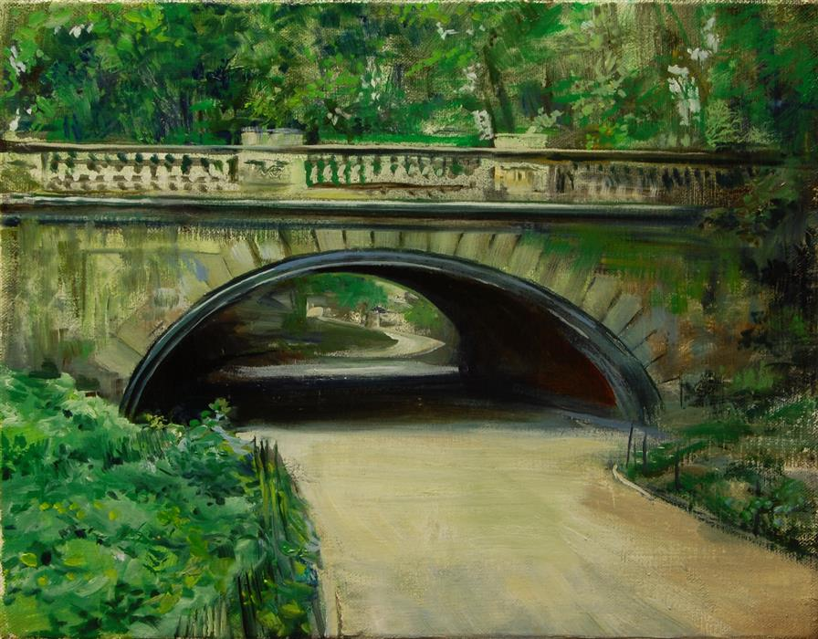 Original art for sale at UGallery.com | Glade Arch, Central Park by ONELIO MARRERO | $575 |  | 11' h x 14' w | ..\art\oil-painting-Glade-Arch-Central-Park