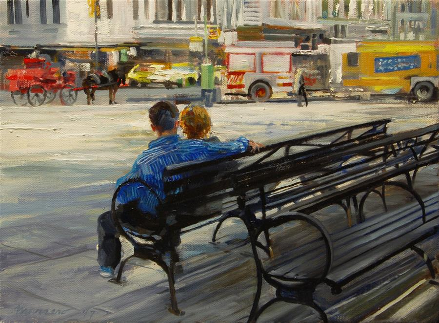 Original art for sale at UGallery.com | The Plaza: 59th and 6th by ONELIO MARRERO | $500 |  | 9' h x 12' w | ..\art\oil-painting-The-Plaza-59th-and-6th
