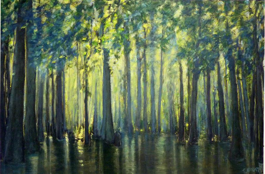 Original art for sale at UGallery.com | River of Ghosts by Elizabeth Garat | $1,700 | oil painting | 24' h x 36' w | ..\art\oil-painting-River-of-Ghosts